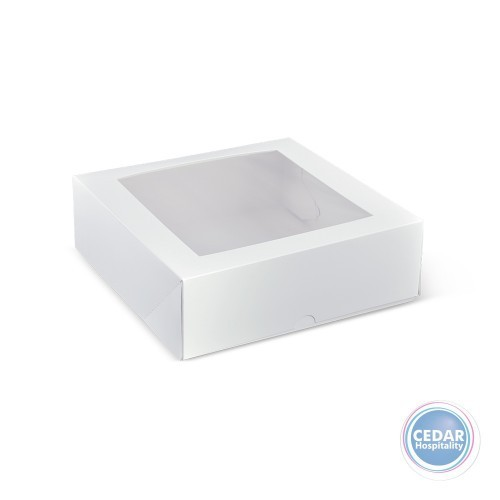 Patisserie Box White Square With Window 9inch 230 x 230 x 75mm - Sleeve of 50