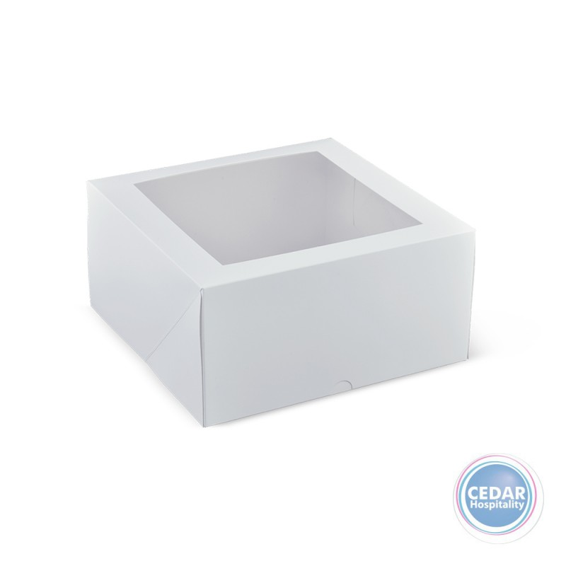 Deep Patisserie Box White Square With Window 9inch - 240 x 240 x 120mm