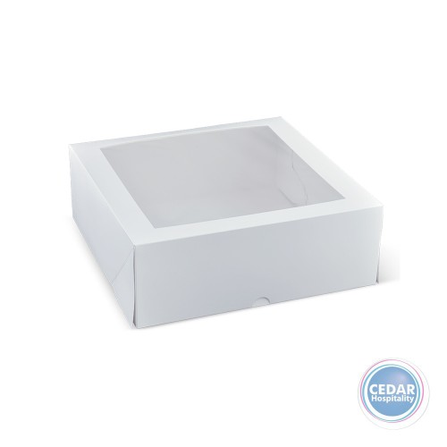 Patisserie Box White Square With Window 11inch 280 x 280 x 100mm - Sleeve of 50