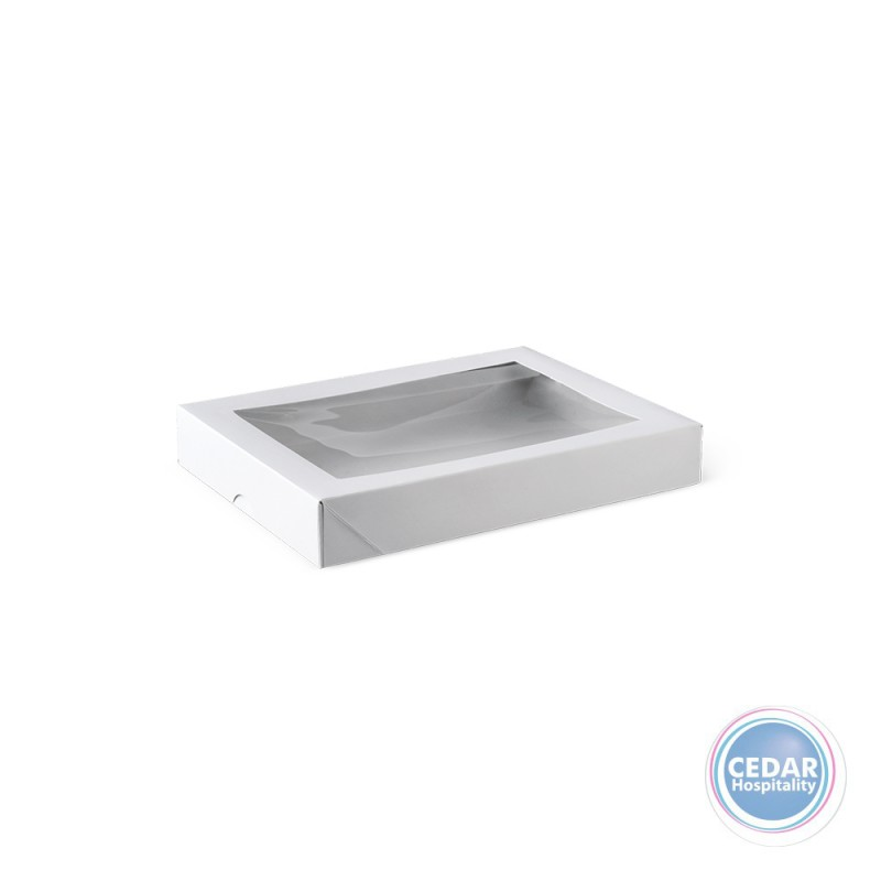 Flat Patisserie Box White With Window - 200 x 150 x 30mm