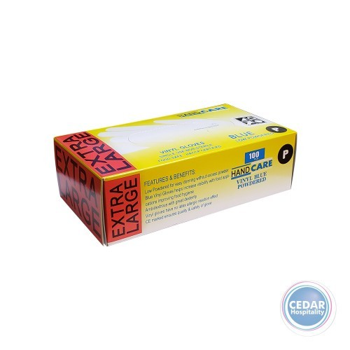 Disposable Gloves Blue - Pre-Powdered Large Pk/100