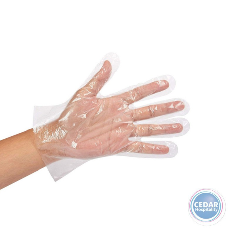 Disposable Gloves Clear Large PE Embossed Pk/100